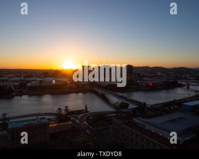 Sunset Over Brisbane City - Stock Image