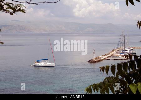 Boats in the Ionian Sea, Kerkyra, Corfu, Greece - Stock Image