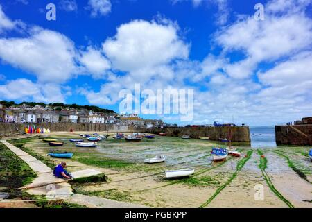 Mousehole harbour,Cornwall,England,UK - Stock Image