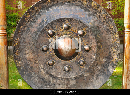 Giant Ancient Buddhist Temple (Cymbal) Gong - Stock Image