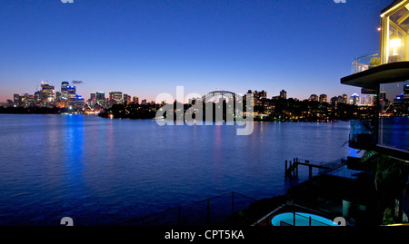 Sydney harbour at dusk Australia - Stock Image