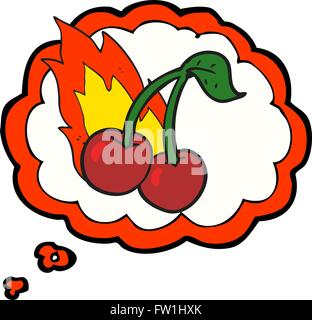 freehand drawn thought bubble cartoon flaming cherries - Stock Image