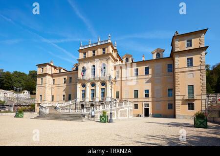 TURIN, ITALY - AUGUST 20, 2017: Villa della Regina, queen palace in a sunny day, blue sky in Turin, Italy - Stock Image