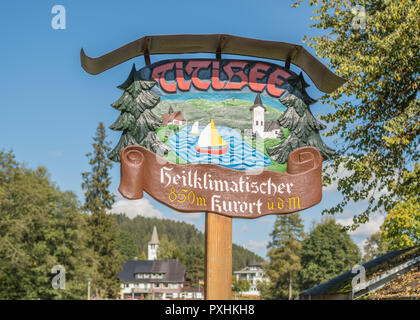 Titisee sign - lake in the southern Black Forest in Baden-Wurttemberg, Germamy, Europe - Stock Image