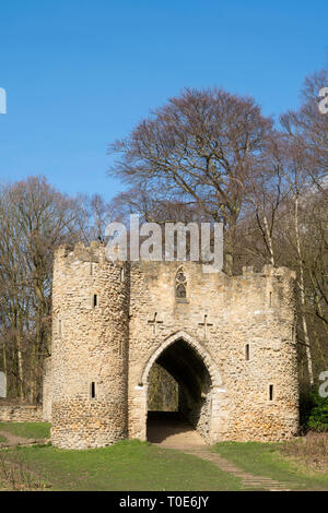 The castle folly in Roundhay Park, Leeds, West Yorkshire, England, UK - Stock Image