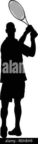 Tennis silhouette.  Black on white.  Vector illustration. - Stock Image