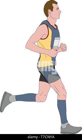 marathon runner illustration - vector - Stock Image