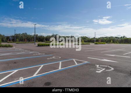 Vacant Parking Lot Handicap - Stock Image
