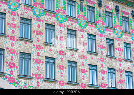 Vienna Majolikahaus, view of the Majolika-Haus in the Naschmarkt area of Vienna - a prime example of the Jugendstil art-nouveau style in architecture. - Stock Image