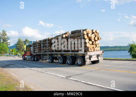 Heavily loaded log truck hauling logs on the highway past Lake Pleasant in the Adirondack Mountains, NY USA - Stock Image