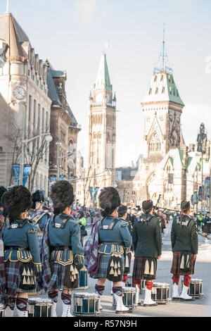 OTTAWA, CANADA - NOVEMBER 10, 2018: Ceremonial Guard of the Governor General Foot Guards of Canada, with their kilts, standing during remebrance day i - Stock Image