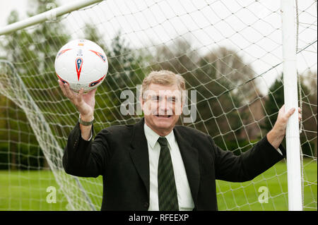Trevor Brooking England international and West Ham footballer West Ham MBE holding football - Stock Image