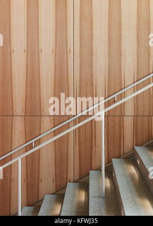 Detail of wood grain in multifunctional hall. Carmen Würth Forum, Künzelsau-Gaisbach, Germany. Architect: - Stock Image