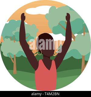 human young woman upper body raised hands cartoon vector illustration graphic design - Stock Image