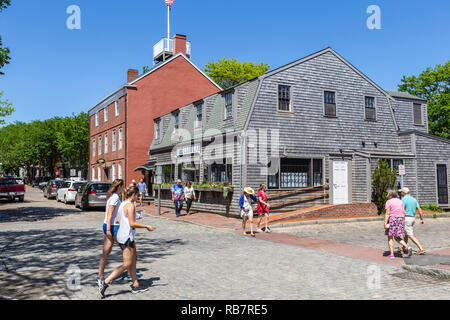 A view of Main Street including The Club Car restaurant in Nantucket, Massachusetts. - Stock Image