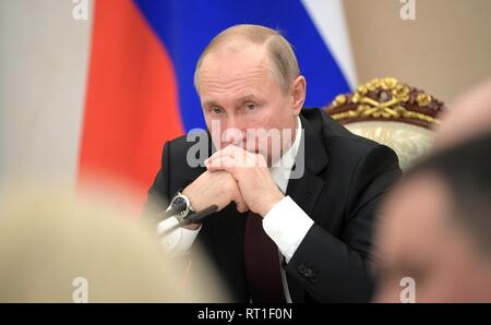 Moscow, Russia. 27th Feb, 2019. Russian President Vladimir Putin chairs a meeting with senior members of the government at the Kremlin February 27, 2019 in Moscow, Russia. Credit: Planetpix/Alamy Live News - Stock Image