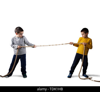 Rivalry of two brothers with a rope. Isolated on white background - Stock Image