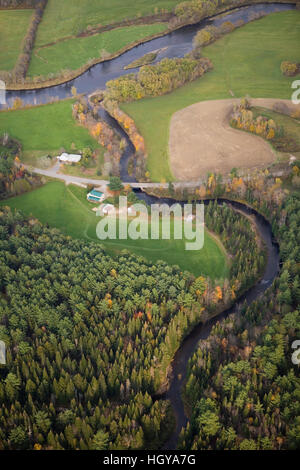 An aerial view of Paul Stream where it empties into the Connecticut River in Brunswick, Vermont. - Stock Image