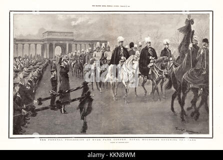 1901 The Graphic Queen Victoria's Funeral Procession at St George's Chapel, Windsor - Stock Image