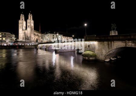 Evening in Zürich, Switzerland, Europe - Stock Image