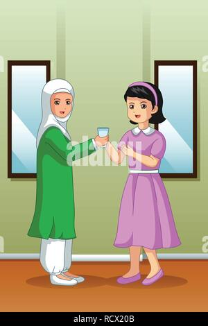 A vector illustration of Muslim Girl Giving Water to Her Friend - Stock Image