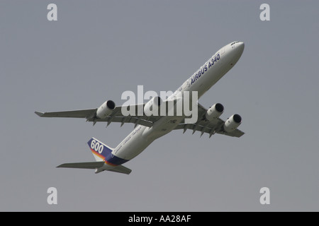 An Airbus A 340 600 at Le Bourget Paris June 2003 - Stock Image