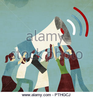 Group of people holding large megaphone for woman to make announcement - Stock Image