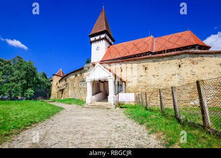 Mesendorf, Romania - Fortified saxon church heritage of medieval Transylvania. Brasov county. - Stock Image