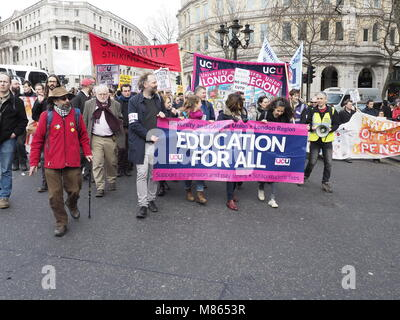 "London, UK. 14th March, 2018. University staff union, UCU, members, students and supporters march in the ""Defend - Stock Image"