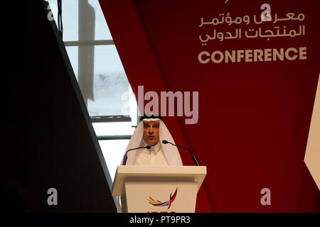 Doha / Qatar – October 8, 2018: Akbar Al Baker, chief executive officer of Qatar Airways, addressing the IPEC conference in Doha, Qatar Credit: Dominic Dudley/Alamy Live News - Stock Image