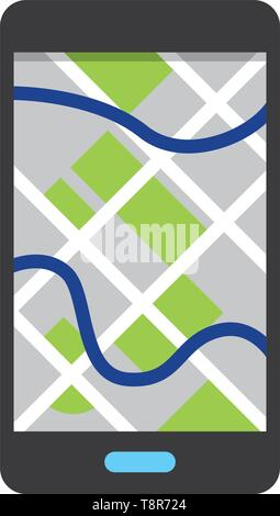 cellphone showing map icon cartoon vector illustration graphic design - Stock Image