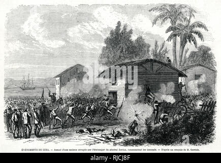 Assault on a house occupied by the staff of General Jordan, one of the leaders of the Cuban forces. A large crowd of men with guns rush toward a thatched building, smoke everywhere from gunfire. At the side of the building flies a Cuban flag. - Stock Image