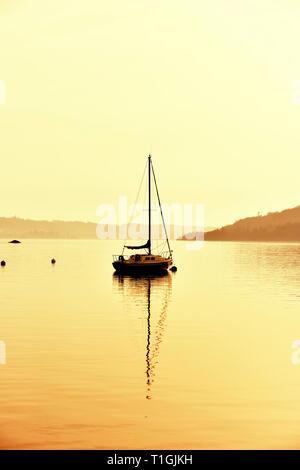 Yacht,Waterhead,Ambleside,Lake Windermere,Lake District,Cumbria,England,UK - Stock Image