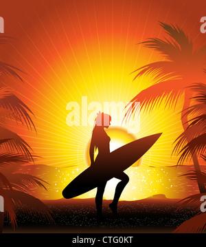 girl surfer on the sunset beach - Stock Image