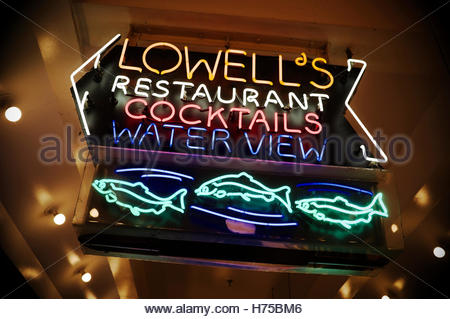 Illuminated sign for Lowell's, a sea food restaurant at Pike Place Market, Seattle, Washington State, north - Stock Image