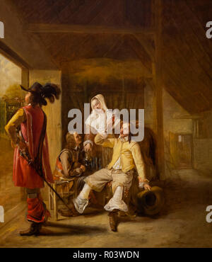 Stable Interior with Officers and a Young Maid, Pieter de Hooch, circa 1650-1655, Zurich Kunsthaus, Zurich, Switzerland, Europe - Stock Image