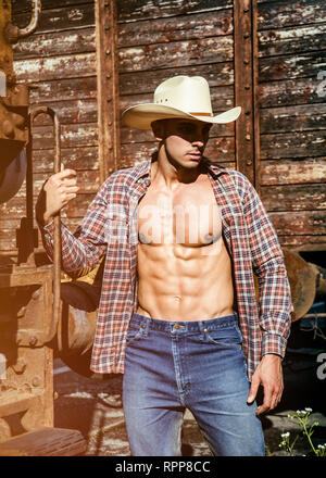 Sexy topless cowboy posing against old train - Stock Image