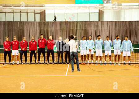 Kraljevo, Serbia. 14th September 2018. The Serbian and Indian teams at the opening ceremony of the Davis Cup 2018 Tennis World Group Play-off Round at the Sportski Center Ibar in Kraljevo, Serbia. - Stock Image