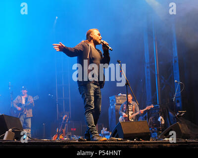 Repentigny,Canada. Boom Desjardins  of the rock group La Chicane performs on stage for the Saint-Jean-Baptiste festivities in Repentigny. - Stock Image