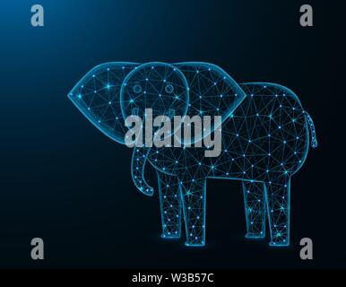 Elephant low poly model, African animal polygonal wireframe vector illustration on dark blue background - Stock Image