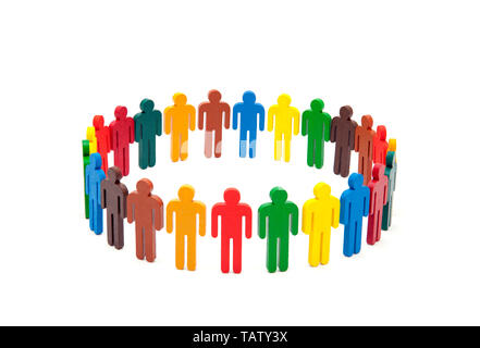 Circle of colourful people on white background - Stock Image