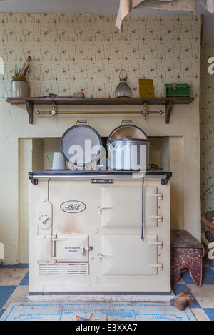 Aga Cooker Range in Farmhouse Kitchen Beamish Living Open Air Museum - Stock Image