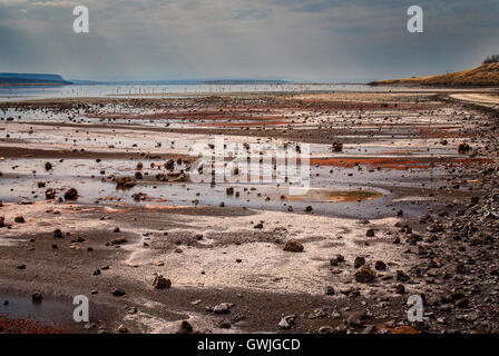 Landscape of Lake Magadi with flamingos and salt/mineral deposits on the shore. Sun rays. Kenya, Africa. - Stock Image