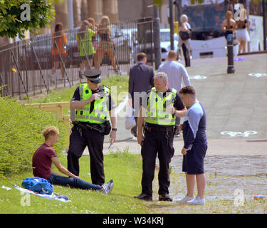 Glasgow, Scotland, UK. 12th July, 2019. Clyde street saw police crackdown on the road to TRNSMT festival at Glasgow Green. Credit: gerard ferry/Alamy Live News - Stock Image