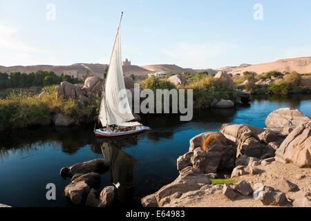 Felucca sailboats on River Nile, Aswan, Egypt - Stock Image