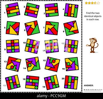 IQ and spatial skills training abstract visual puzzle: Find the two identical objects in each row. Answer included. - Stock Image