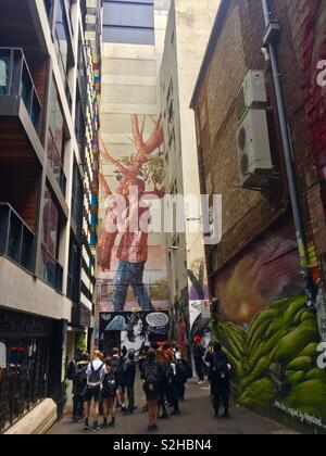 Melbourne Laneway with school group looking at Street art - Stock Image