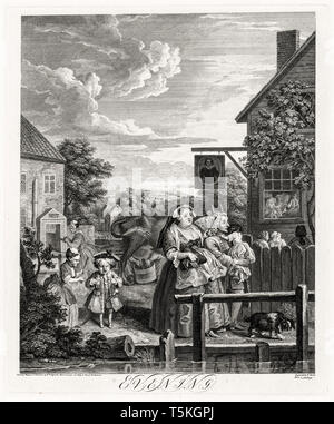 William Hogarth, Four Times of the Day: Evening, engraving, 1738 - Stock Image