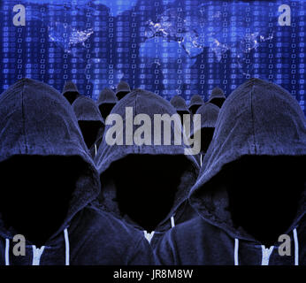 Hooded mass of unknown faceless computer hacker and cyber criminals with a world map of internet usage and binary code - Stock Image