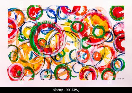 Abstract artwork of circles by Ed Buziak. - Stock Image